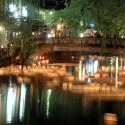大谿川の夜景と灯篭流し