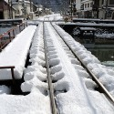 線路沿いの雪