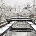 雪の降る温泉街