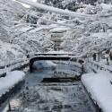 雪に埋もれた温泉街